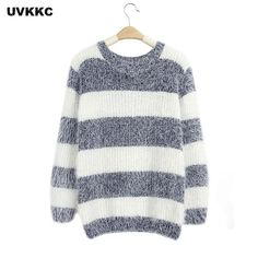 Hot Deals $7.49, Buy Mohair Pullover 2017 Autumn Winter Womens O Neck Sweater Women Hedging Loose Pullover Casual Sweater Cheap Wholesale Drop Ship