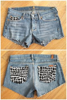 update your thrifted or outdated shorts with a printed fabric  DIY Džínové  Kraťasy 41c096a9de