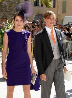 Princess Tessy Of Luxembourg and Prince Louis Of Luxembourg depart from the Religious Wedding Of Prince Felix Of Luxembourg and Claire Ladem...