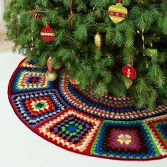 Create a tree skirt that reflects your passion for crochet and the beloved granny square motif! This skirt is shown in a scrappy look, using ten different colors of yarn. Each of the grannies has more stitches on the outer edge so it will lie flat. Start early and crochet a couple squares a month and you'll have it done in time to trim the tree!