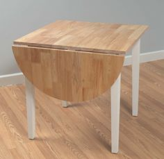 Casual White Legs and Natural Top Dining Table with Drop Leaf Style