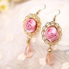 $2.4 - Fashion Charm Beautiful Satin Rose Flower Crystal Beads Dangle Earrings #ebay #Fashion