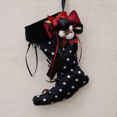 Holiday Stockings Black White Polka Dot by coloratamarmellata, $39.00
