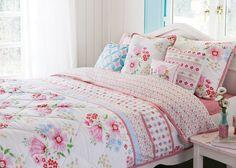 Quilting Rooms | Details zu ROOM SEVEN Quilt 180 x 240 water flower Überwurf NEU