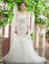 Ivory Mermaid Sweetheart Sequin Court Train Wedding Dress For Bride