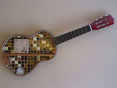 Stunning mosaic acoustic guitar shelf! For sale at our shop: www.musicasartbysarah.etsy.com