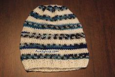 Knitted Baby Striped Hat/Beanie Pattern Available in 2 sizes | AuntyNise.com