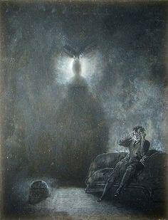 "James William Carling's illustration for Edgar Allen Poe's ""The Raven"". 1880's."