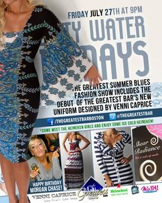 Party Morgan Chase style at Dirty Water Fridays featuring fashions by Venni Caprice Clothing tomorrow night. Feel the shimmer of summer blues with Dirty Water TV and Mix 104.1 ... is cool hot. RSVP to skip the line and get discounted cover. https://www.facebook.com/events/352799811462592/