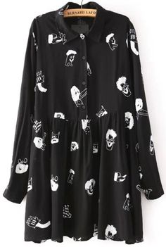 Shop Black Lapel Long Sleeve Cartoon Print Blouse online. Sheinside offers Black Lapel Long Sleeve Cartoon Print Blouse & more to fit your fashionable needs. Free Shipping Worldwide!