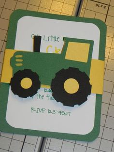 tractor party handmade invitations - Google Search
