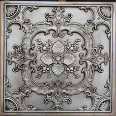 faux tin antique silver ceiling tile by Fauxpaintceilingtile Vitromosaico Ideas, Tile Ideas, Faux Tin Ceiling Tiles, Ceiling Panels, Plank Ceiling, Floral Pillows, Centre Pieces, Background For Photography, Antique Silver