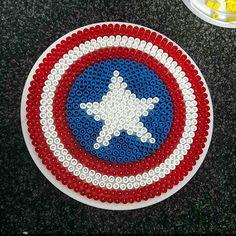 Captain America shield hama beads by lbwheeldon