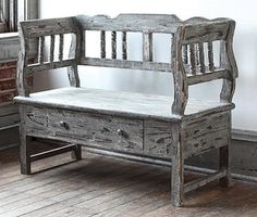 Grandview Aged Wooden Bench eclectic benches