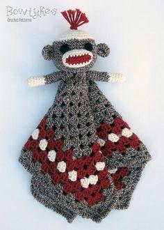 Sock Monkey Lovey crochet pattern by Bowtykes