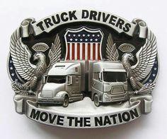 Truck Drivers Move The Nation Belt Buckle for sale online Truck Driver Wife, Truck Drivers, Belt Buckles For Sale, Gifts For Truckers, Leather Belt Buckle, Custom Big Rigs, Big Rig Trucks, Semi Trucks, Vintage Trucks