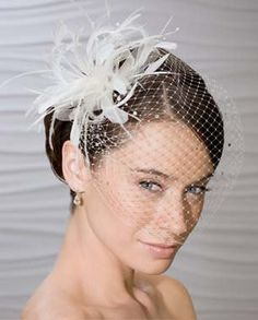 Veil ONLY, Birdcage Bridal Veil with Rhinestones , Black, White, & Ivory. $34.99, via Etsy.