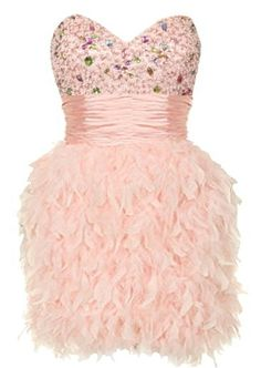 Blushing Swan Dress: Features a boned sweetheart bodice covered with colorful gemstones and tonal glass beads, shirred satin waistband for an instant slimming effect, corset ribbon closure to the back, and flumes of fluffy feathers covering a haute couture skirt to finish.