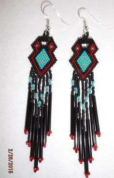 Native American Style Beaded Earrings Red Turquoise Black