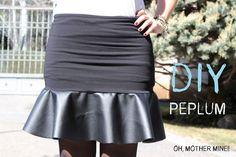DIY Como hacer una falda con peplum de cuero