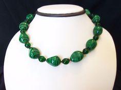 MIRIAM HASKELL Jewelry Vintage Malachite Green Bead Glass Necklace Brass Choker #MiriamHaskell #Choker
