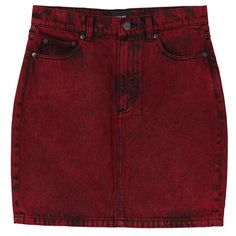 Monki Mimmi denim skirt (15 CAD) ❤ liked on Polyvore featuring skirts, bottoms, saias, red, monki, denim skirt, red denim skirt and red skirt