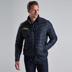 High Quality Black Men's Barbour International Chain Quilted Baffle Jacket Sale Online UK | Stylish Jackets