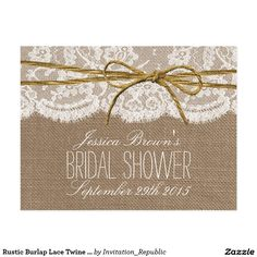 Rustic Burlap Lace Twine Bow Bridal Shower Recipe