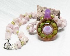 Exciting Contemporary Necklace with Handmade Boro Glass Lilac and Green Pendant…