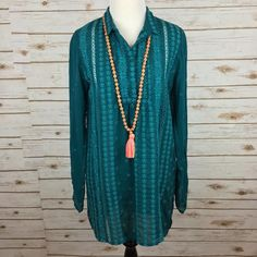 "[Johnny Was] Boho Embroidered Tunic Floral Teal A stunning embroidered tunic by luxury designer Johnny Was. Popover style with button placket. Small collar. Flowing sleeves. Small vents on sides. Flowy and could probably fit a small (check measurements). So unique and perfectly boho.   Fabric: 100% Cupra Rayon Bust: 19"" Length: 29"" Condition: NWT!  No Trades! Johnny Was Tops Tunics"