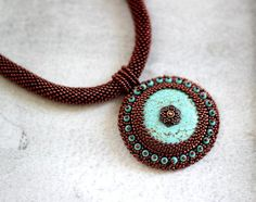 Turquoise Bead Embroidered Necklace by HeriniasJewelryChest, $75.00