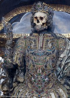 The jewel-encrusted skeletons of Roman martyrs:  photographs from Rome's ancient underground catacombs.