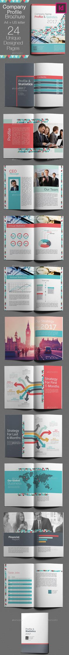 Company Brochure Template InDesign INDD - 24 Unique Designed Pages, A4 + US Letter Size
