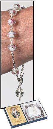 9 Inches Long, 10 X 7 Mm Glass Capped Bead Silver Plate, White Vienna Rosary Bracelet (Set of 3) by Milgros, http://www.amazon.com/dp/B007NFSS0Y/ref=cm_sw_r_pi_dp_5D0Dpb1AB7DFD
