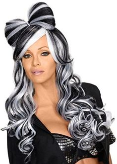 Amazon.com: Rubie's Costume Women's Bow This Way Adult Black and White Wig, Black/White, One Size: Clothing
