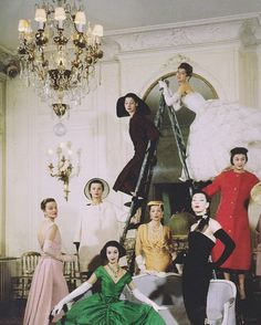 Christian Dior house models in the Spring 1957 collection photographed by Cecil Beaton