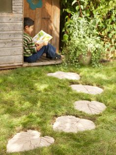 How to Make a Decorative Garden Path- Learn how to make a fun, leaf-inspired garden path with this step-by-step guide. Dance along your very own winding path through your garden. Make these eye-catching steppingstones by molding concrete into pretty leafy shapes. You'll need big leaves for this project, like the ones on rhubarb, zucchini and sunflower plants.