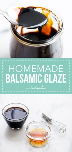 Balsamic Glaze (Balsamic Reduction) - So easy to make at home and takes only 2 ingredients! Try putting this balsamic glaze recipe on top of salads, veggies, pasta. So simple and absolutely delicious! Honey Balsamic Glaze, Balsamic Glaze Recipes, Balsamic Glaze Dressing Recipe, Honey Balsamic Dressing, My Recipes, Cooking Recipes, Healthy Recipes, Turkey Recipes, Sauce Recipes
