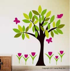 Tree Viny Decal Childrens Wall Decals Nursery Tree Tulip Flowers and Butterflies Mural Interior Wall Art for Kids Room Vinal Tree Decal. $89.00, via Etsy.