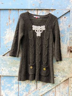Tunic Sweater Mini Dress, upcycled with vintage lace, hand painted buttons, 29.99