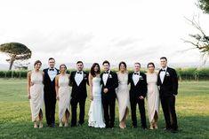 Beautiful bridesmaids in Shona Joy High-Neck Ruched Dress - Ivory