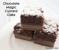 Chocolate Custard Cake Magic Cake Recipes, Delicious Cake Recipes, Yummy Cakes, Sweet Recipes, Healthy Recipes, Custard Desserts, Custard Recipes, Baking Recipes, Food Cakes