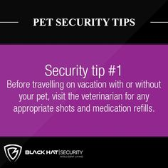 Before travelling on vacation with or without your pet, visit the veterinarian for any appropriate shots and medication refills. Security Tips, Safety And Security, Home Security Systems, Home Safes, Your Pet, Travelling, Home And Family, Shots, Medical