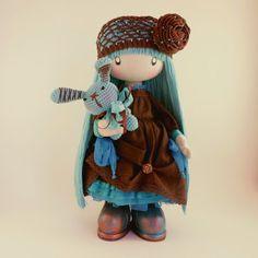 Mimi de muñeca de trapo hecho a la medida de tela Regalo ideas marrón y turquesa