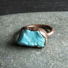 Turquoise Ring Rough Stone Jewelry Raw Gemstone by MidwestAlchemy
