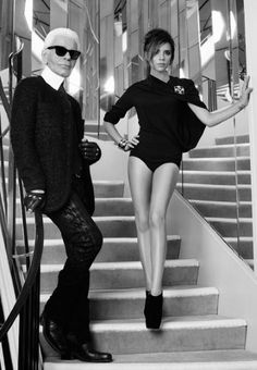 Karl Lagerfeld and Victoria Beckham. On the iconic Chanel staircase ay 31 Rue Cambon in Paris.