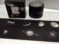 Crescent full moon washi tape 7M mystery sky black by TapesKingdom