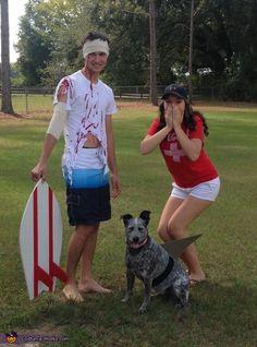 Dog Shark Costume, Lifeguard Halloween Costume, Lifeguard Costume, Shark Halloween, Cute Couple Halloween Costumes, Shark Costumes, Halloween Costume Contest, Halloween Outfits, Dog Costumes