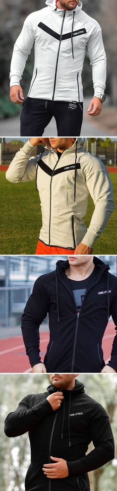 Mens Casual Hoodie Running/Training Jacket #fitness #gym #running