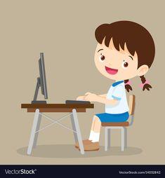 Cute student girl working with computer vector image on VectorStock Wallpaper Powerpoint, Powerpoint Background Design, School Cartoon, Cartoon Kids, Teacher Picture, Sunflower Iphone Wallpaper, Student Images, Animation Schools, Computer Vector